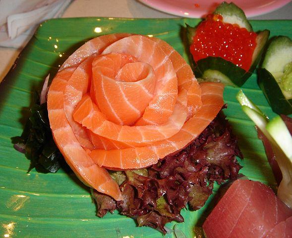 Salmon shasimi is good for food mood