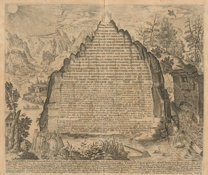 ASTROLOGY ADVICE EMERALD TABLET Engraved image emerald tablet 1609, by Heinrich Khunrath